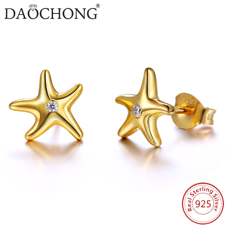 fashion design <strong>14</strong> <strong>k</strong> gold plated 925 sterling silver starfish earrings
