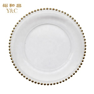Handpainted gold colored glass decorative charger plates