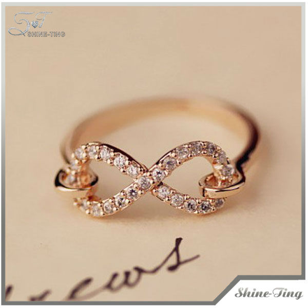 Fashion Infinity Symbol Ring with Alloy Rose Gold Plated Women's Ring1310-14