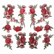 3D Flower Red Rose Applique Embroidery Patches for Clothes Decorated Sewing D60