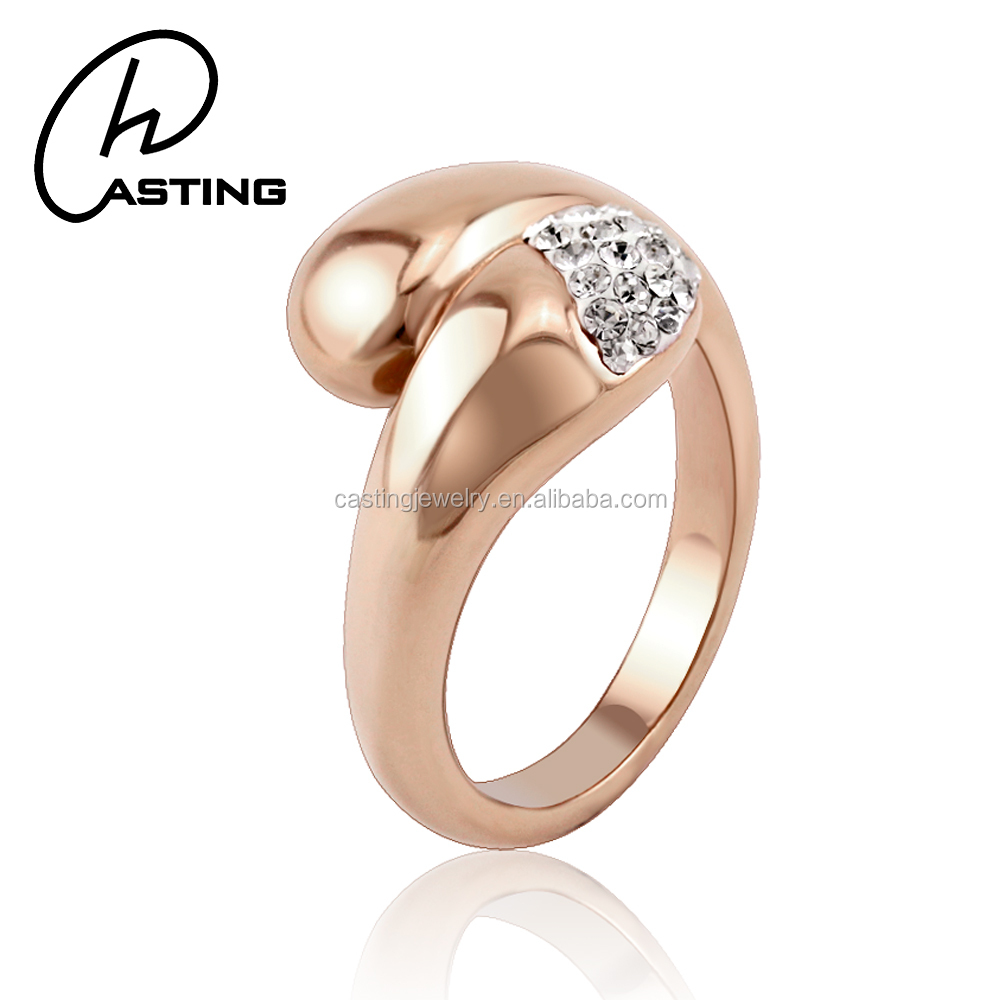 China Wholesale Rose Gold Austrian Crystal Engagement Rings