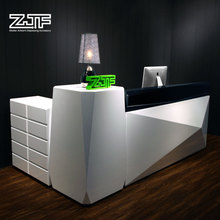 ZJF POP white shop luxury reception counter table design