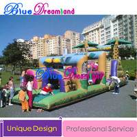 Giant high quality PVC Outdoor Inflatable trampoline Jurassic Park inflatable playground trampoline obstacle