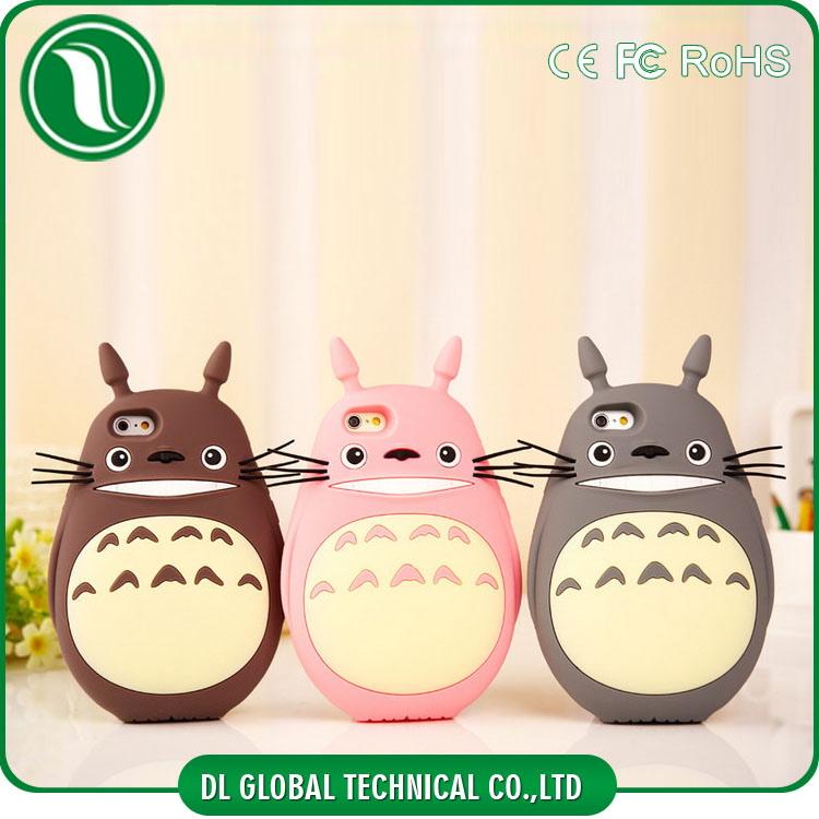 3D Animal Silicone Phone Cover My Neighbor Totoro for iphone 6 Mobile case, totoro phone case