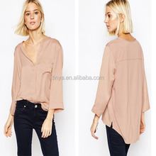 Latest fashion elegant women long sleeves pocket design for formal blouses pictures