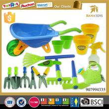 Happy garden toy beach trolley cart with tools