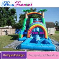 New Arrival Outdoor Inflatable slide trampoline tropical inflatable castle bouncer