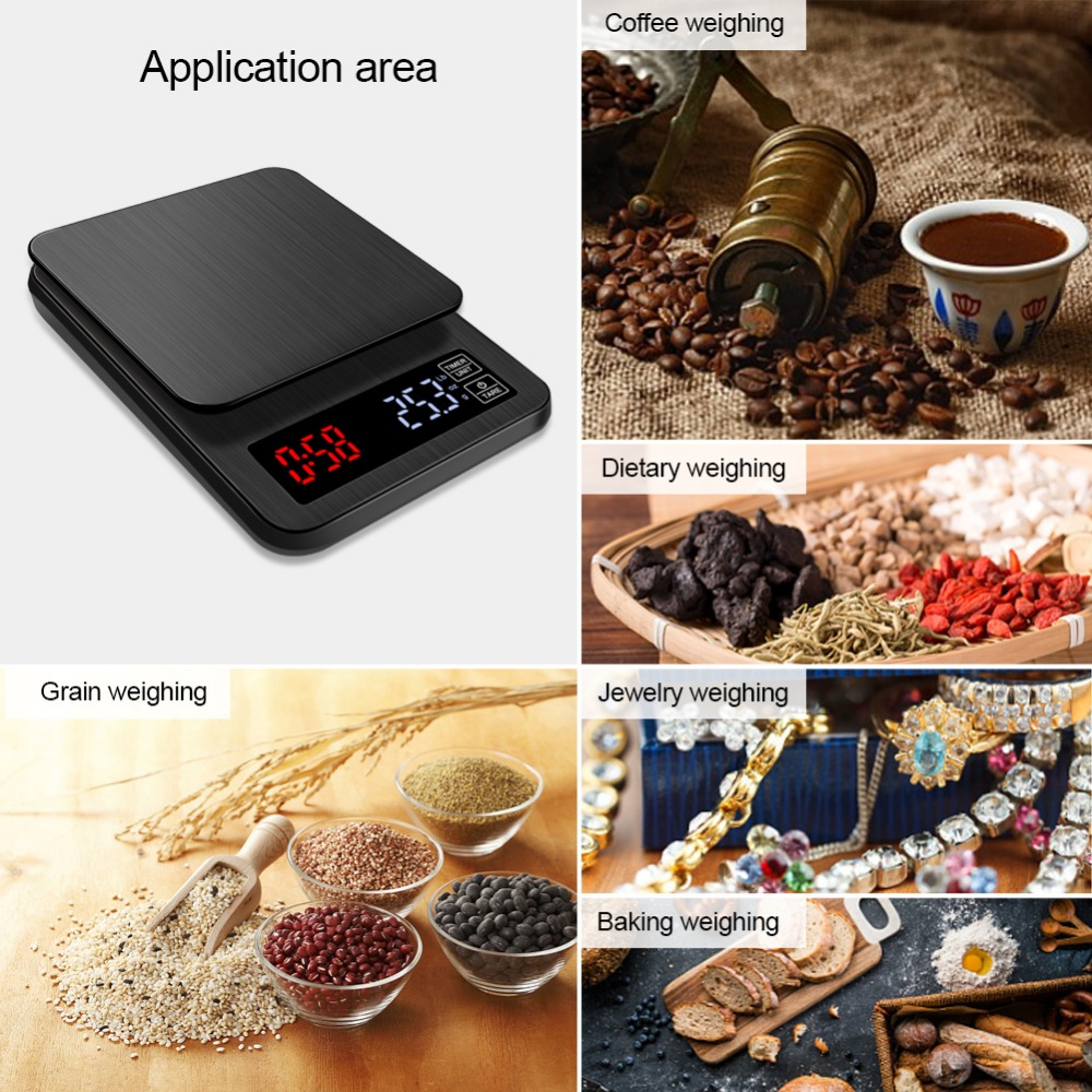 5kg/0.1g USB Electronic Drip Coffee Scale With Timer