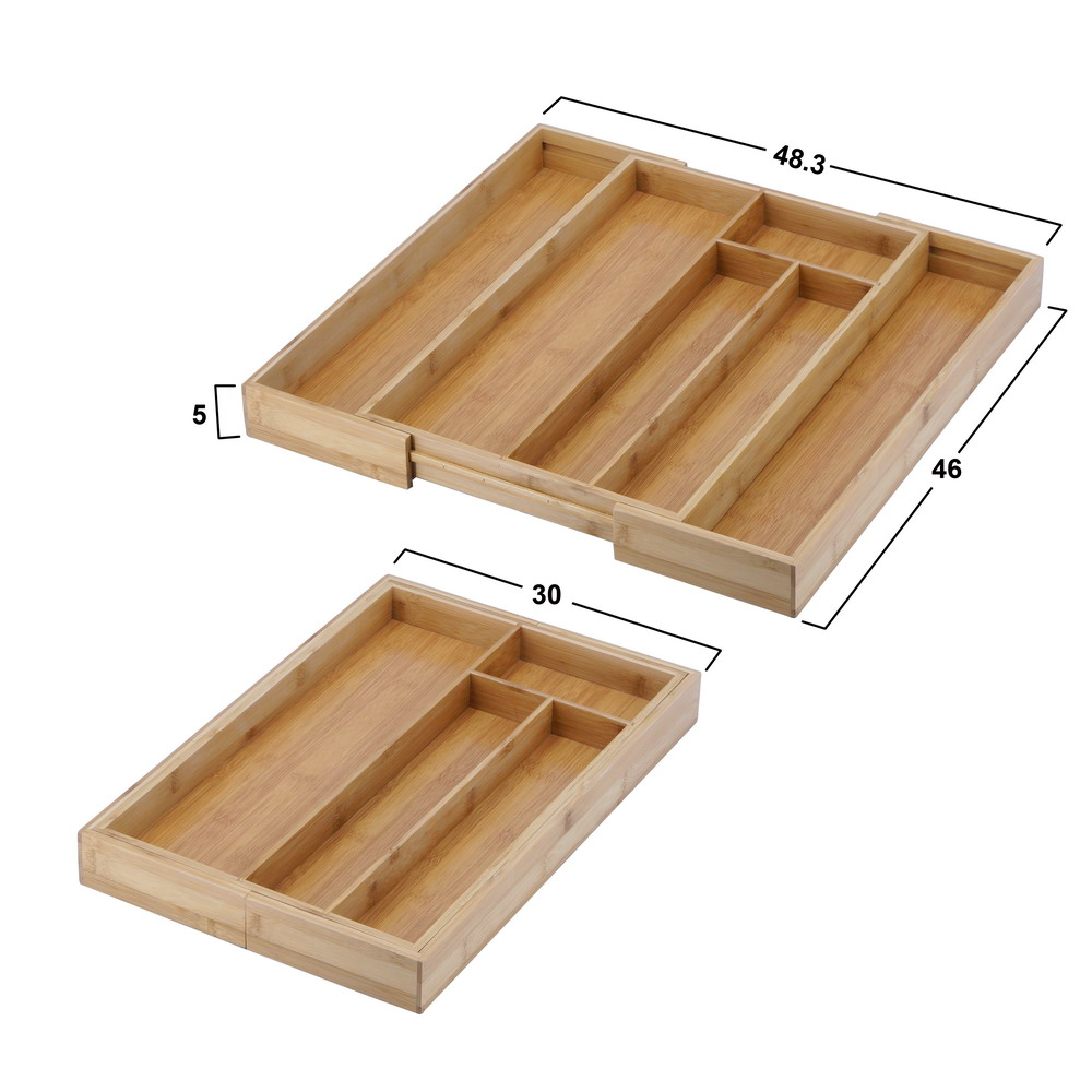 Inno-Crea Expandable Kitchen Utensil Bamboo Drawer Organizer Cutlery Tray