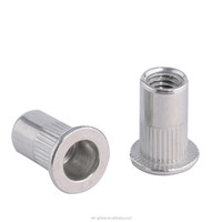 m6 flat head knurled body 304 stainless blind rivet nut