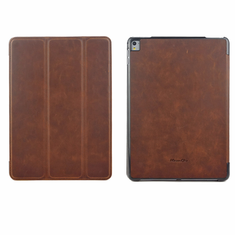 LOGO Custom vintage cowhide leather stand design tablet cover case for ipad mini ,for ipad air