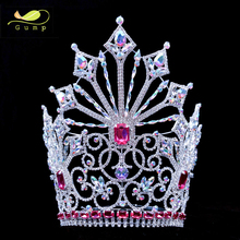 10inches Pink AB stones Big Pageant Rhinestone Beauty Crown Crystal Contoured Curve Tiara