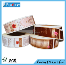 Excellent quality custom printing cosmetic self adhesive label sticker roll