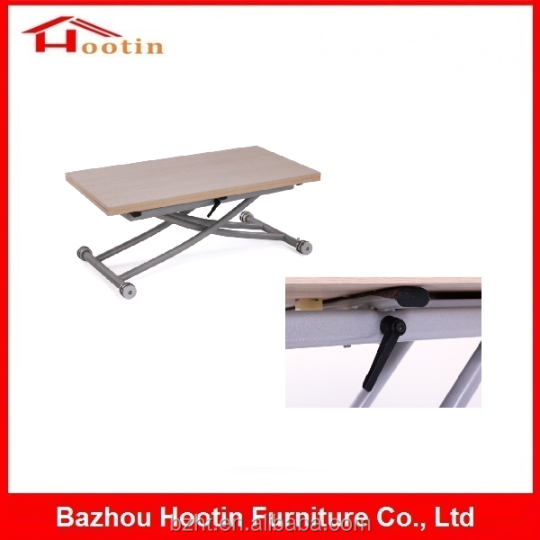 Metal Frame Wooden Top Extendable Square Foldable Chromed Legs Table Adjustable Folding Table