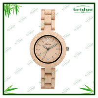 new arrival original design natural color pure time wooden wrist watch ladies hot
