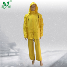 Polyester Raincoat PVC Coating Eco-Friendly Adult Reusable Yellow Rain Coat