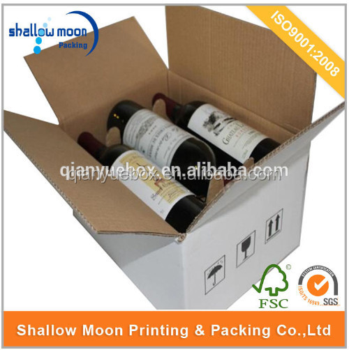 White corrugated red wine packaging carton box