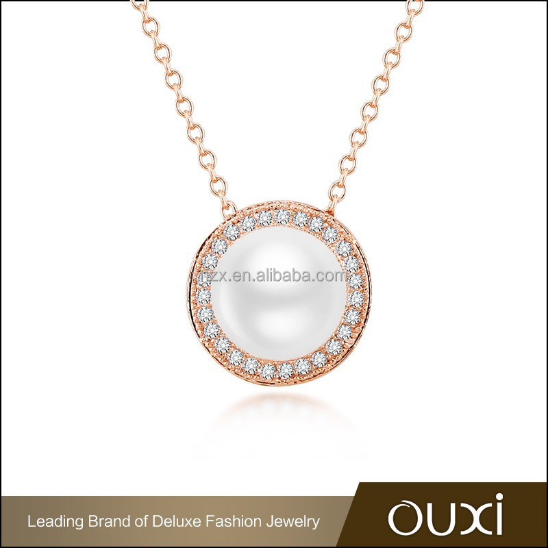 OUXI korean style 18k gold plated real pearl necklace price 11352-2