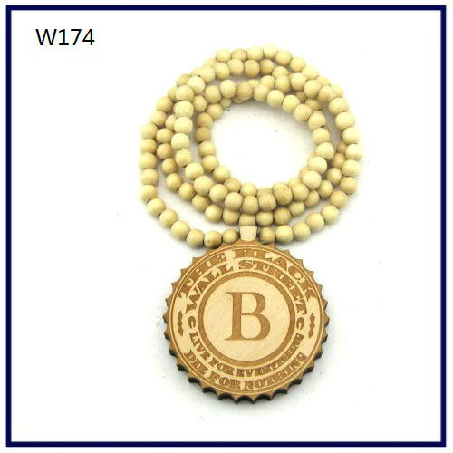 Wood Necklace Hip hop Wood color Round WALL Beaded Fashion rosary Factory price W174