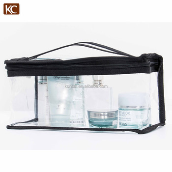 Professional wholesale customer transparent pvc mini cosmetic brushes bag case make-up pouch