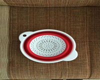 New design high quality collapsible plastic round folding basket colander for vegetables and noodles