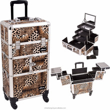 Professional Rolling Makeup Case 2 in1 Mutifunctional Aluminum Trolley Cosmetic Case With 360 Degree Wheel