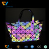 wholesale popular colorful rainbow reflective sewing fabric,rainbow reflective belt material for handbag