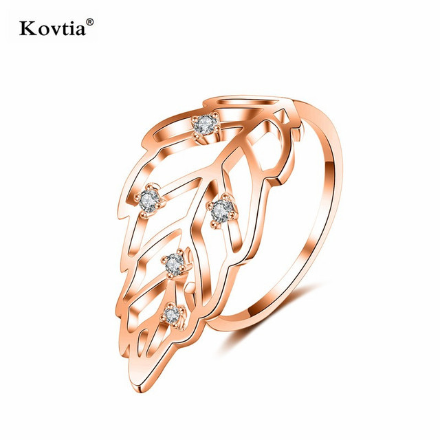 Kovtia Trendy Handmade 2 Grams Rose Gold Plated Rings Jewelry Precious Zircon Stones Open Leaf Shaped Diamond Rings