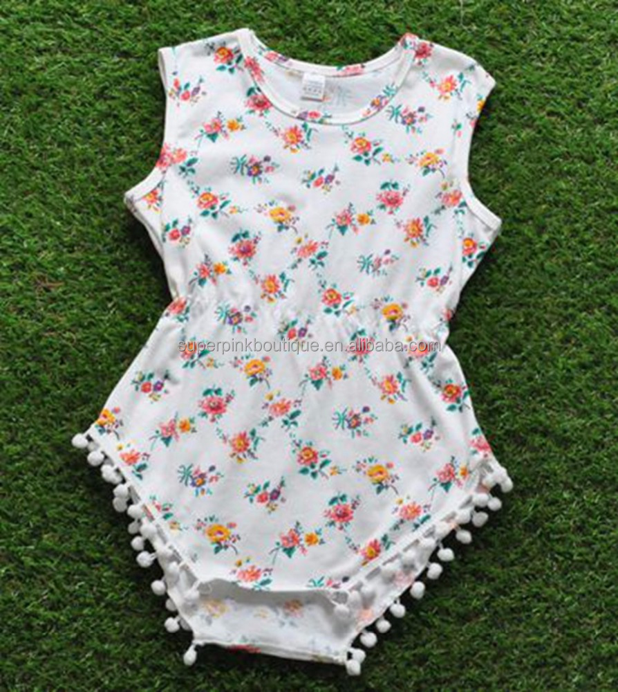 WHOLESALE CHILDREN' S BOUTIQUE CLOTHING SOFT BABY COTTON ROMPER WITH POM POM