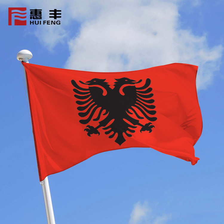 High Quality Screen Print 100D Polyester National Flag , Albanian Flag