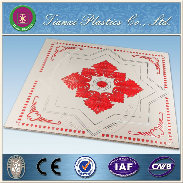 2016 New Design PVC Ceiling Panels Size 595mm * 595mm Geometric Polygon Figure Design Red Embellish Ancient China Style Pattern