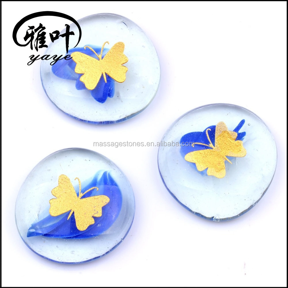 Factory price for Clolorful Engraved Butterfly Pattern Glass Stone