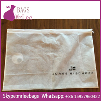 Custom logo large drawstring non woven shoe bags pouches with middle stitching