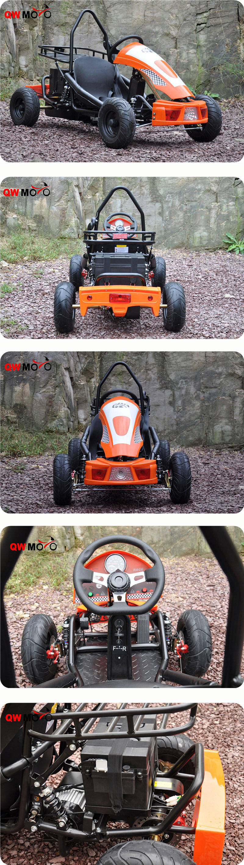 QWMOTO 2017 500W Brushless Upgrade Electric Kids Racing Go Kart 48V Battery Buggy Electric kids Racing go kart for sale