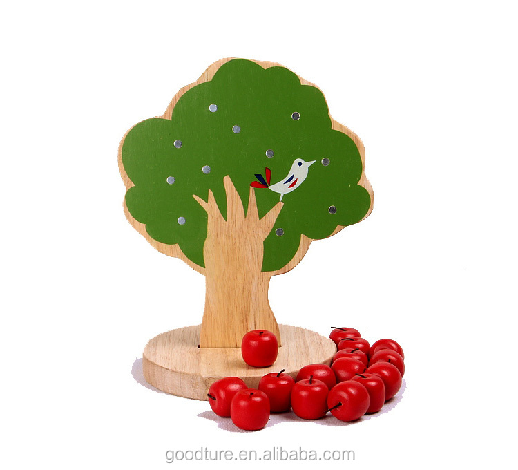 Customized Brand Accepted Wooden Magnetic Apple Tree