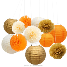 UMISS 12 Pieces Wedding Birthday Party Outdoor Decoration, Tissue Paper Pom Pom Flowers, Gold Hanging Chinese Lanterns