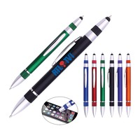 High quality promotional item smooth writing plastic two tips pen with stylus for stationery