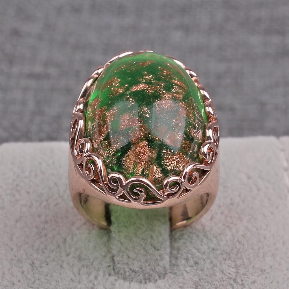 18kgp chapado en oro rosa c pula cabuj n italiano millefiori anillo de cristal de murano - Anillo cristal murano ...