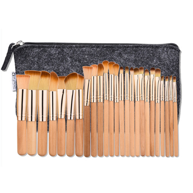 Good Sale Log Handle Rose Gold Ferruel Make Up Brushes Tool 25 Pieces A Set with Gray Bag Optional