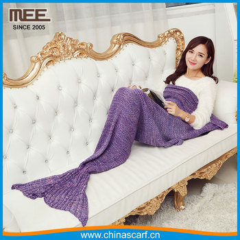 women knitted mermaid blanket factory children crochet girls gift sleeping bag minky mermaid tail blanket
