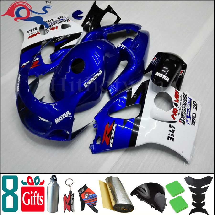 8Gifts+ GSXR600 1996-2000 blue white Fairing for Suzuki 96 97 98 99 GSXR750 motorcycle cover SRAD