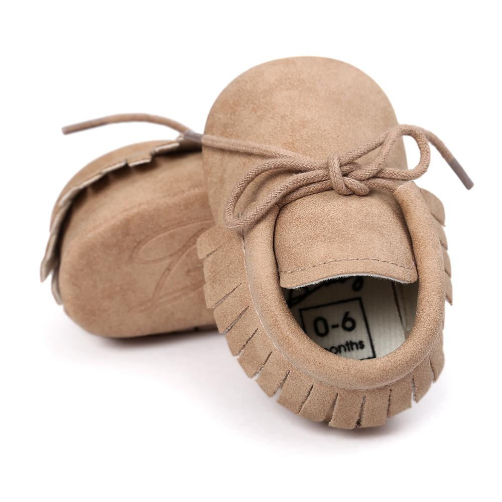 New Hard Sole Soft PU Leather Baby Girls Boy Shoes Fringe Baby Moccasins For 0-24 M