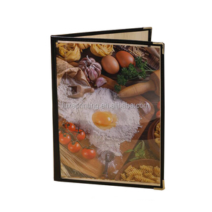 Wholesale 4 Views 2 Pages Metal Corner PU Leather Clear Plastic PVC A4 Menu Cover for Restaurant