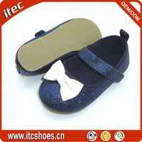Ivory bow girl shoes shiny PU new glitter kid shoes navy color