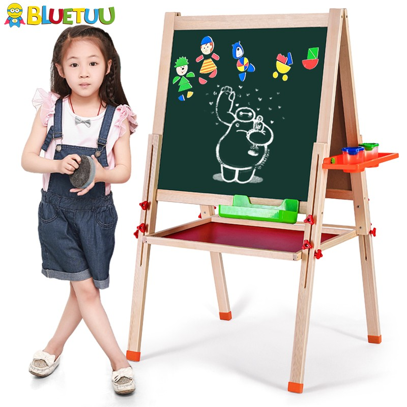With easel stand duplex wooden chalkboard with stand for kids rooms