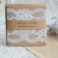 Luxury pocket fold wedding invitations cards with envelope