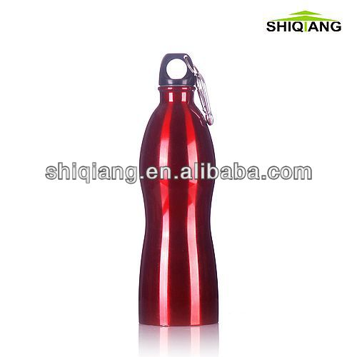 750ml high quality gourd shape stainless steel wide mouth sports bottles with carabiner lids BPA free used for outer doors
