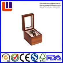 luxury leather covered wooden watch storage box with acrylic window