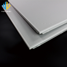 Foshan Factory Low cost Perforated Metal Aluminum 2x4 acoustical commercial drop ceiling tiles wholesale