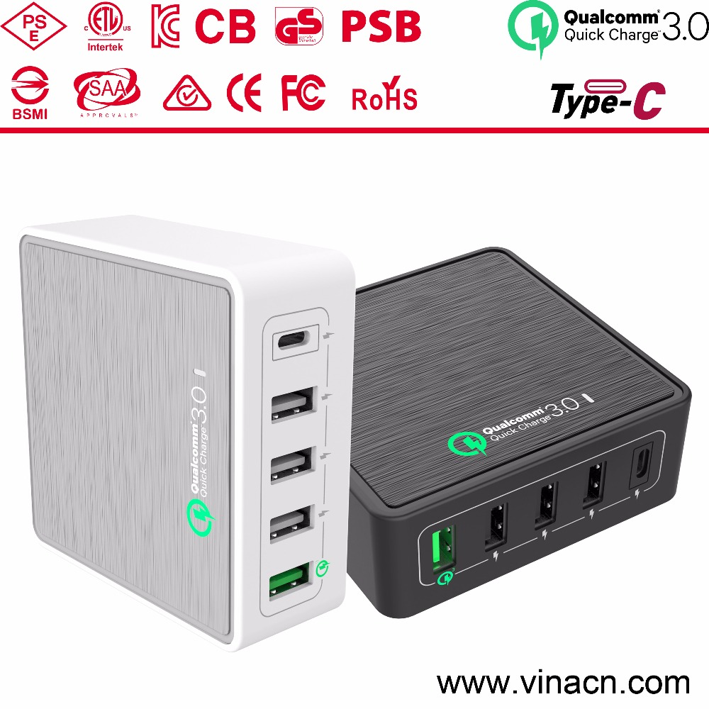 CB Certification passed usb multi charger QC 3.0,energy cell phone charger type-c